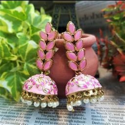 CARANS leaf meenakari jhumka earrings, Pink, 1 pair of earrings