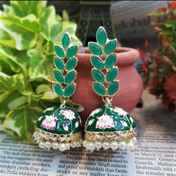 CARANS leaf meenakari jhumka earrings, Dark Green, 1 pair of earrings