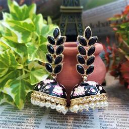 CARANS leaf meenakari jhumka earrings, Black, 1 pair of earrings