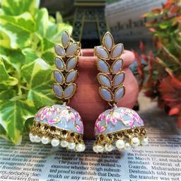 CARANS leaf meenakari jhumka earrings, Grey, 1 pair of earrings