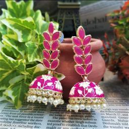 CARANS leaf meenakari jhumka earrings, Dark Pink, 1 pair of earrings