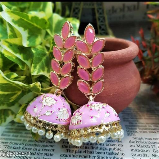 CARANS leaf meenakari jhumka earrings, Light Pink, 1 pair of earrings