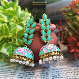 CARANS leaf meenakari jhumka earrings, Pastel Green, 1 pair of earrings