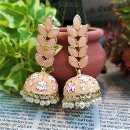 CARANS leaf meenakari jhumka earrings, Cream, 1 pair of earrings