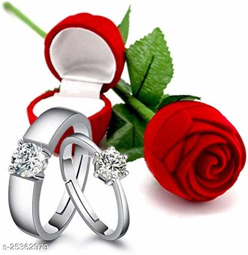 Adjustable Valentine's Special Silver Plated CZ American Diamond Adjustable Finger Ring with Red Rose Gift Box For Women/Girls