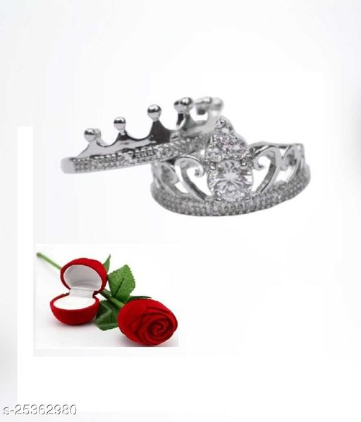 Valentine's Special Adjustable Exclusive  King and Queen Couple Crown Ring for Boys & Girls Charming & Beautiful valentine Gift for your loved Couple Ring With Beautiful Red Rose Box