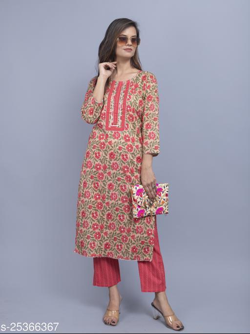 Women's Block Print Cotton Kurti With Pant Set