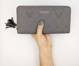 Trendy Women's Grey Leather Clutch