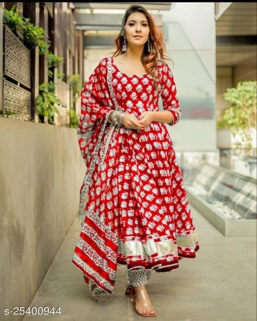 RED FROCK STYLE KURTI WITH 3PC SET