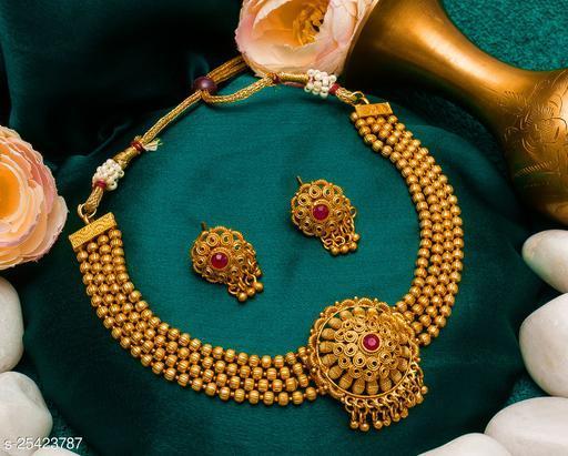 Princess Maharastrian Matt Gold Plated Chain work Choker set For Women
