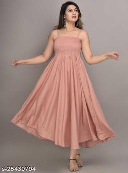 Zamaisha Peach Rayon A-Line Bobbin Maxi Dress for Women