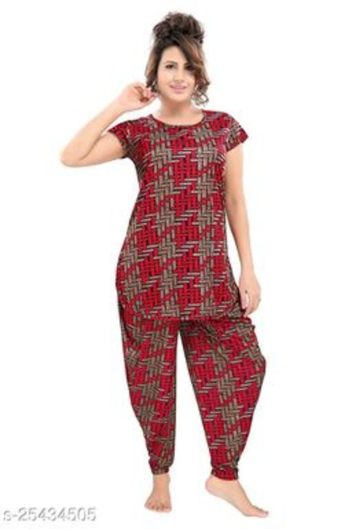 TUCUTE® Women's Floral Printed Top and Dhoti Style Bottom 2 PC Night Suit (Red_4593)
