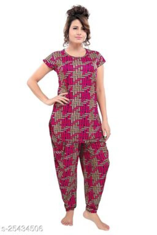 TUCUTE® Women's Floral Printed Top and Dhoti Style Bottom 2 PC Night Suit (Pink_4592)