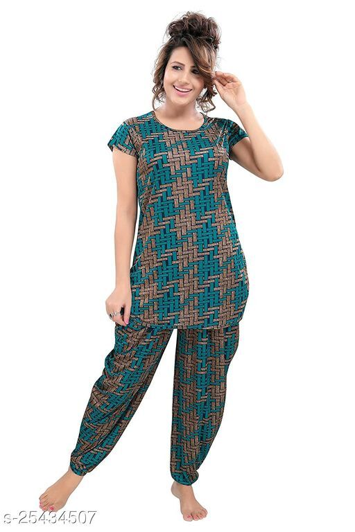 TUCUTE® Women's Floral Printed Top and Dhoti Style Bottom 2 PC Night Suit (Green_4591)