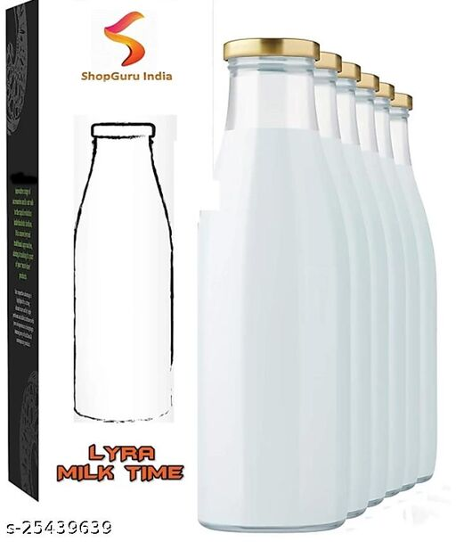 Enteiraa Hygienic Air Tight Italian Glass Water/Milk/Juice Bottle with Air Tight Cap1000 ml Bottle(Pack of 6)