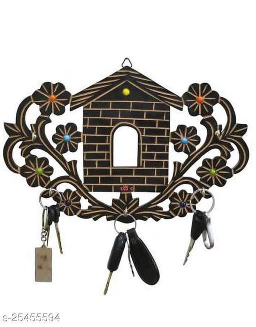 India Wood Mart Wooden Key holder | Hooks key holder. Wood Key Holder  (5 Hooks, Brown)