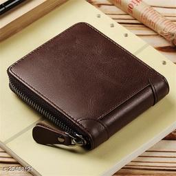 Fashlook Brown Zipper Without Baccha Wallet For Men