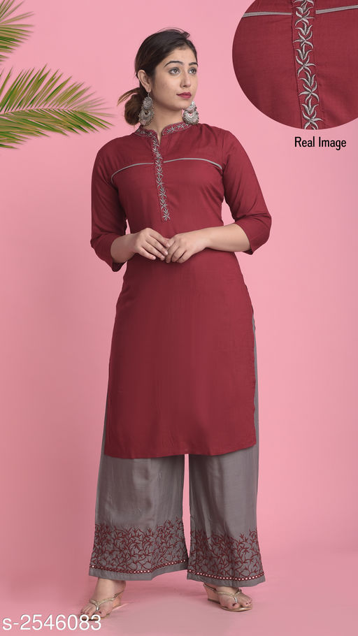 Kurta Sets Women Embroidered Rayon Kurta Set with Palazzos  *Fabric* Kurti - Rayon Slub, Palazzo - Rayon Slub   *Sleeves* Sleeves Are included   *Size* Kurti - M- 38 in, L - 40 in, XL - 42 in, XXL - 44 in, Palazzo - M - 34 in, L - 36 in, XL - 38 in, XXL - 40 in   *Length* Kurti - Up To 46, Palazzo - Up To 39  in   *Type* Stitched   *Description* It Has 1 Piece Of Women's Kurti & 1 Piece Of Palazzo   *Work* Embroidery Mirror Work   *Colours* Maroon  *Sizes Available* M   Catalog Rating: ★4 (3833) Supplier Rating: ★4.1 (13614) SKU: SWRSKS-3 Free shipping is available for this item. Pkt. Weight Range: 500  Catalog Name: Women's Embroidered Rayon Slub Kurta Set with Palazzos - PFL-Garments Code: 666-2546083--998