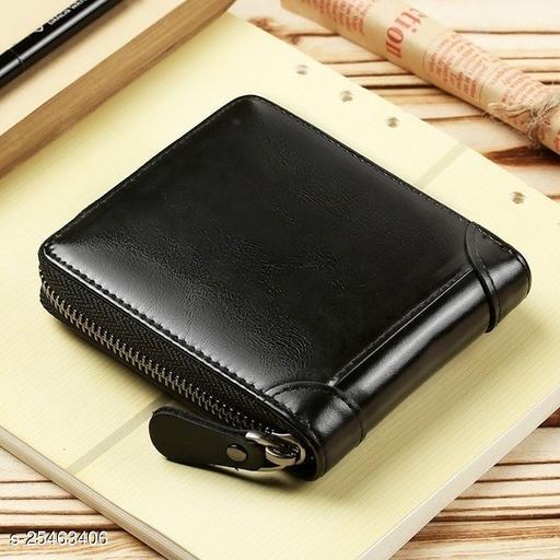 Fashlook Black Zipper Without Baccha Wallet For Men