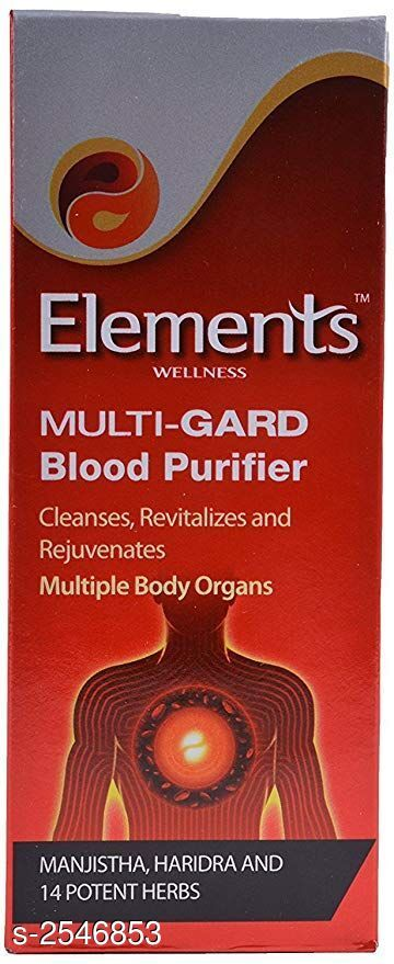 Health Equipments (Diabetic Care Etc) Elements Health Care Product  *Product Name* Elements Wellness Multi-Gard Blood Purifier  *Brand Name* Elements  *Product Type* Health Drink  *Capacity* 200 ml  *Description* Our blood accumulates Doshas due to improper metabolism. Elements Multi-Gard Blood Purifier, enriched with herbs having Katu, Tikta and Rasayana actions help improve metabolism, balance working of GI, liver, kidneys and other organs of the body, thereby purifying blood. This novel blood purifier is formulated with honey and specific herbs that ensure goodness of the herbs reach all target organs.  *Package Contains* It Has 1 Pack Of Health Drink  *Sizes Available* Free Size *   Catalog Rating: ★4.1 (69)  Catalog Name: ON & ON/ Elements Health Care Products Vol 1 CatalogID_343183 C125-SC1574 Code: 252-2546853-033