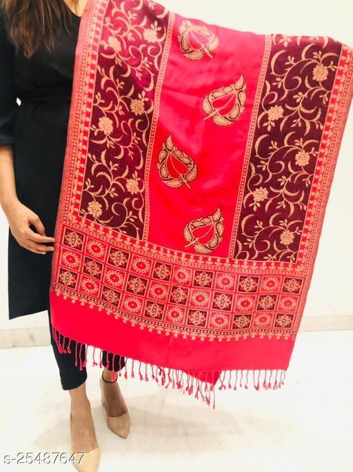 Women Wool Blend Designer Leaf Floral Pattern Stole