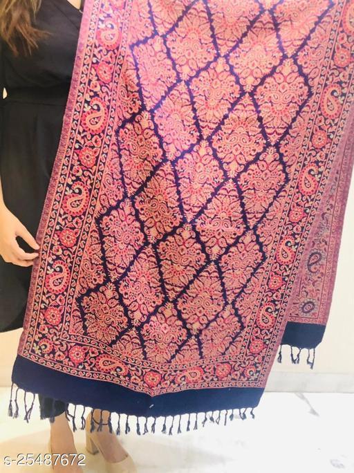 Women Wool blend Designer Paisely Jaal Stole