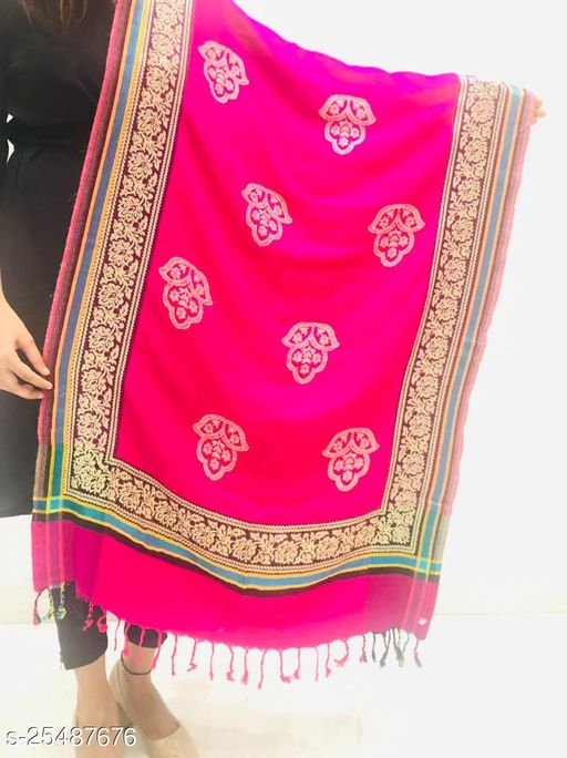Women Wool blend Floral border with motifs Designer stole