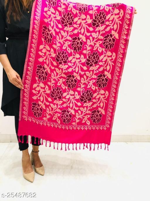 Women Wool Blend Designer Floral jaal Stole