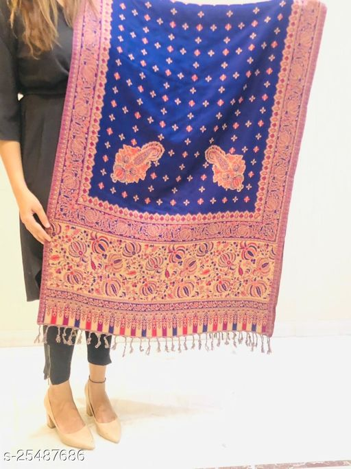 Women Designer Border with Floral Jaal Stole
