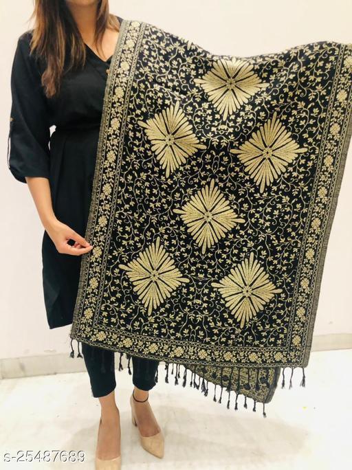 Women Wool blend Floral jaal Designer Stole