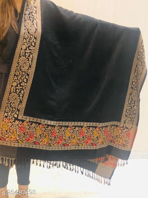 Women Wool Blend Designer Paisley Border Shawl