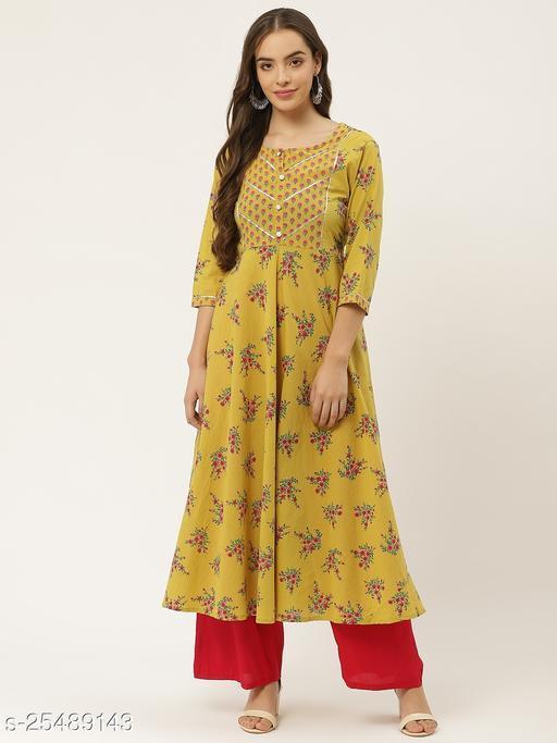 JAPER KURTI Womens Floral Print Fit & Flare Cotton Anarkali Dress ( Mustard )