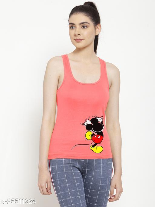 Women Gajri Mickey Mouse Long Printed Cotton Tank top