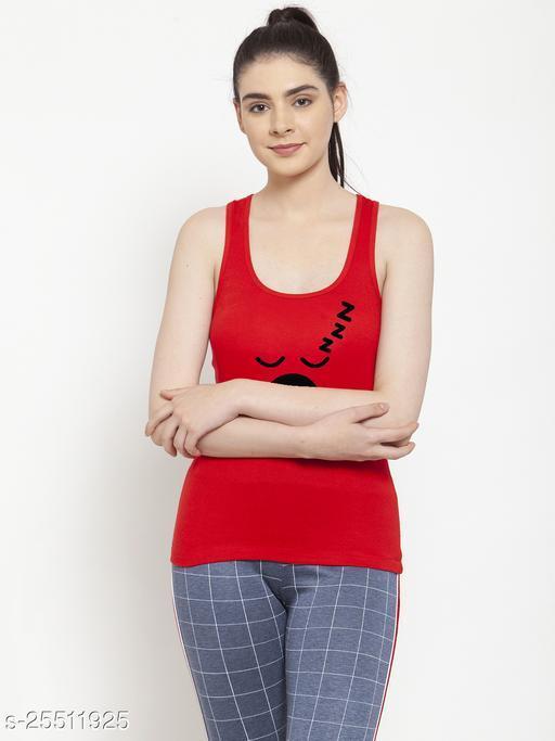 Women Red Sleepy Printed Casual Tank top