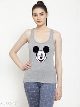 Women Grey Mickey Mouse Printed Cotton Tank top