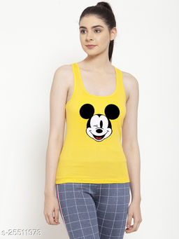 Women Yellow Mickey Mouse Printed Cotton Tank top
