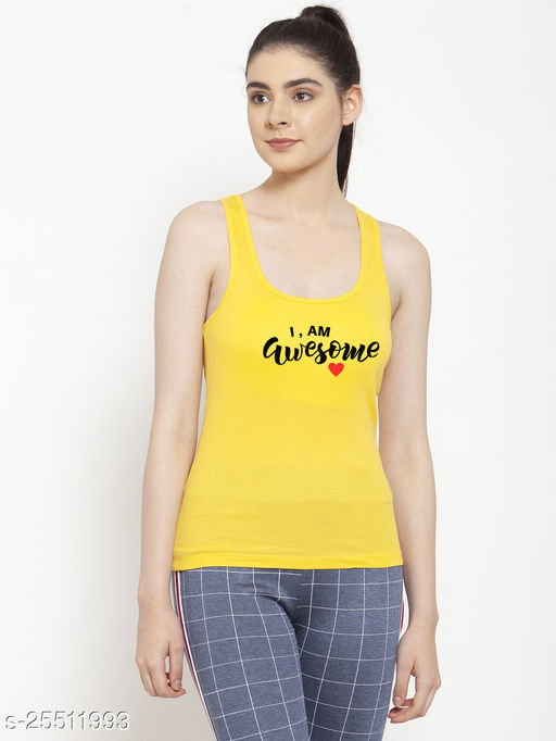 Women Yellow I am Awesome Printed Cotton Tank top