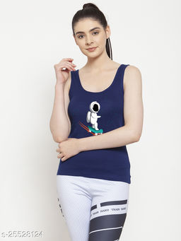 Women Blue Robot Printed Cotton Tank top
