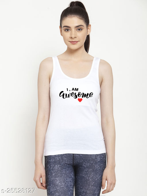 Women White I am Awesome Printed Cotton Tank top