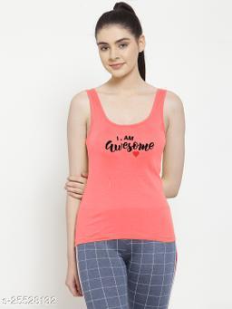 Women Gajri I am Awesome Printed Cotton Tank top