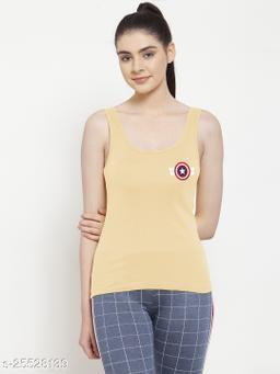 Women Beige Captain America Printed Sleeveless Camisole