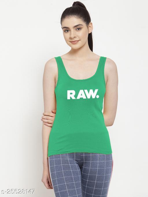 Women Green Raw Printed Casual top