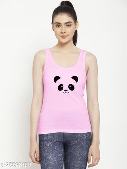 Women Pink Panda Printed Cotton Tank top