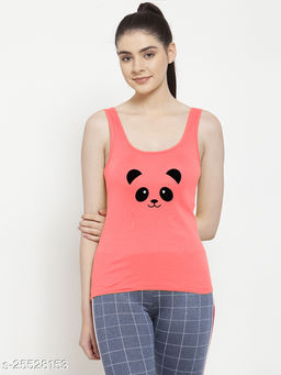 Women Gajri Panda Printed Cotton Tank top