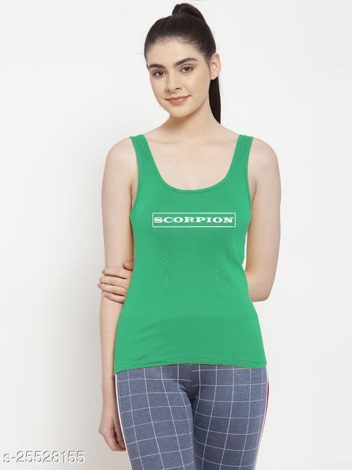 Women Green Scorpion Printed Sleeveless Vest