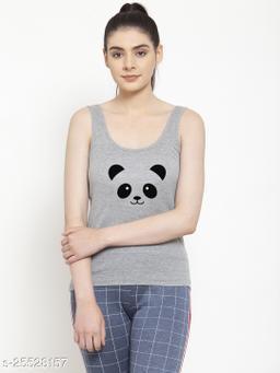 Women Grey Panda Printed Cotton Tank top