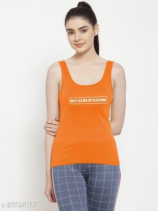 Women Orange Scorpion Printed Sleeveless Vest