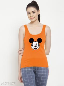 Women Orange Micky_Mouse Printed Cotton Tank top
