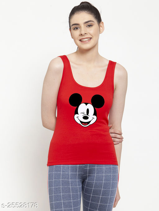 Women Red Mickey Mouse Printed Cotton Tank top