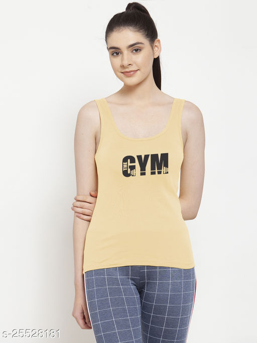 Women Beige Gym Printed Casual Sleeveless Top